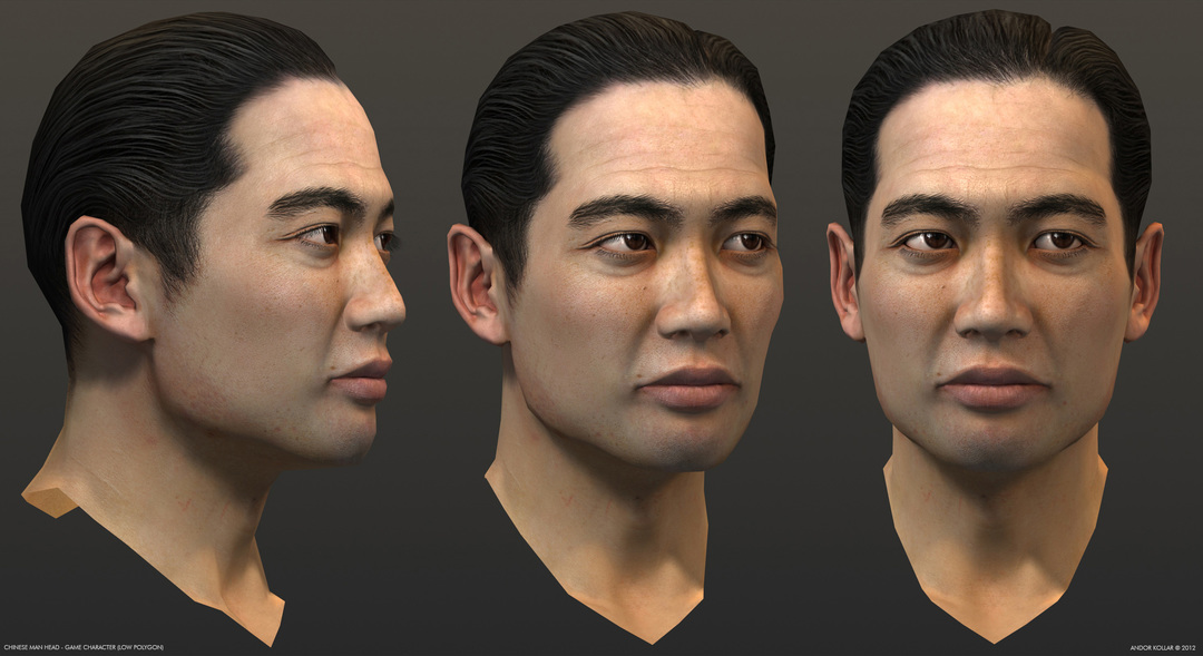 Chinese man head, game character in 3d