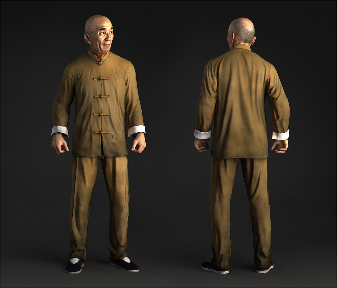 Chinese old man, Yip Man with yellow chinese suit, game character in 3d