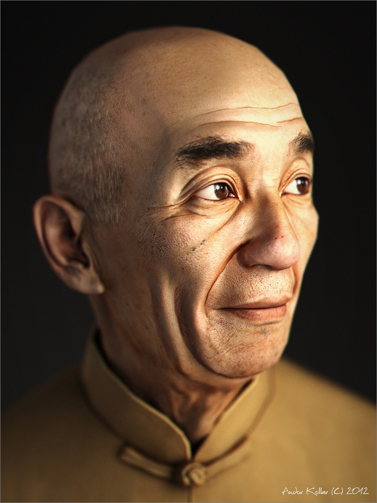 Chinese old man head, game character in 3d, Yip Man