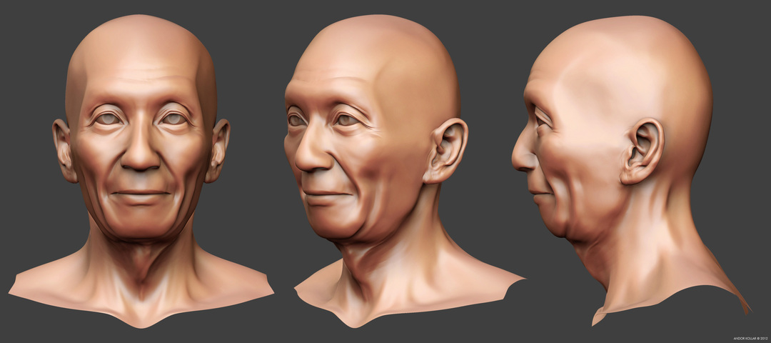 Chinese old man head, Yip Man sculpting in ZBrush