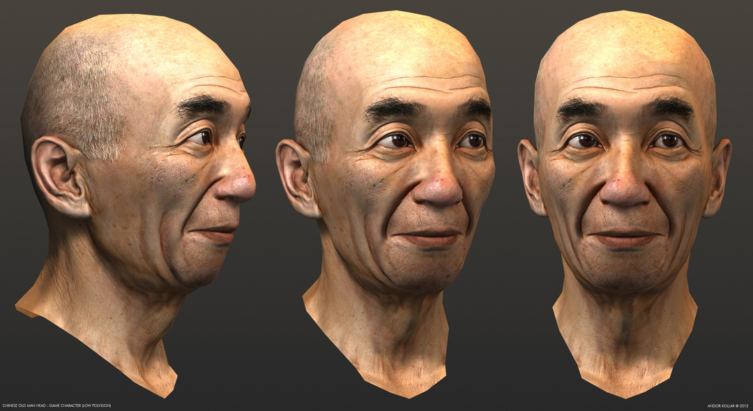 Chinese old man head, Yip Man, game character in 3d