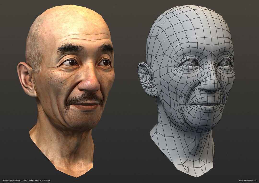 Chinese old man head wireframe, Yip Man, game character in 3d
