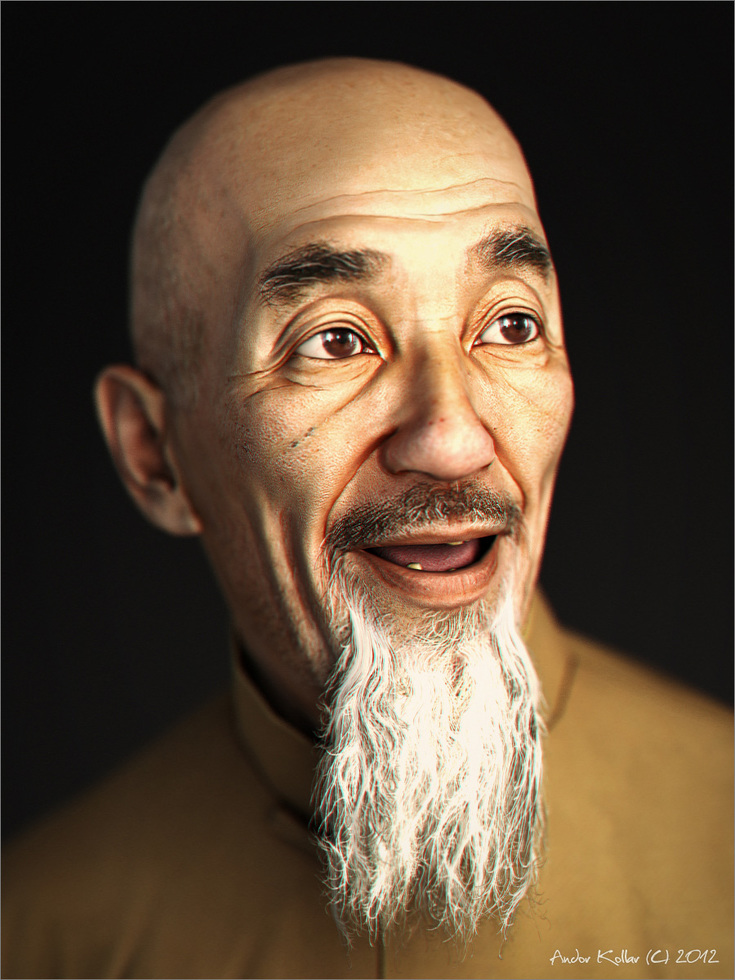 Chinese old man head with long beard, game character in 3d