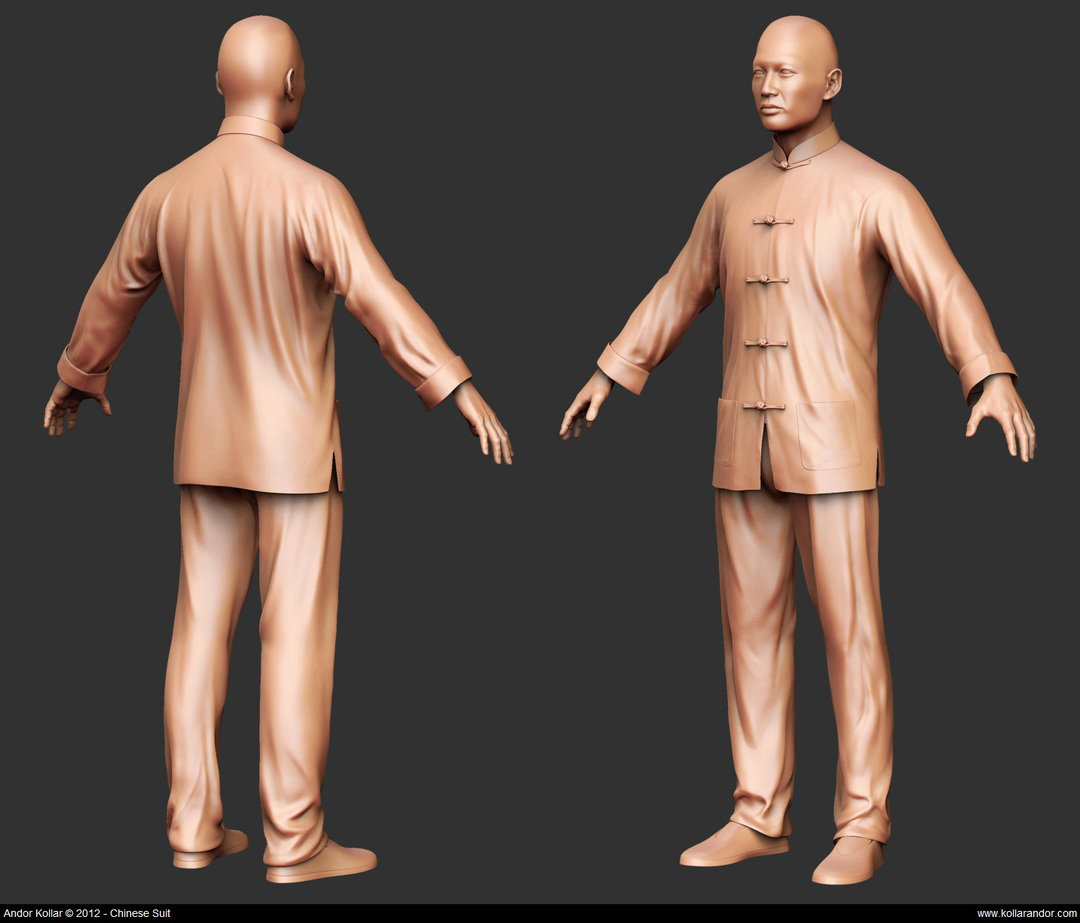 Chinese man and chinese suit sculpting in ZBrush