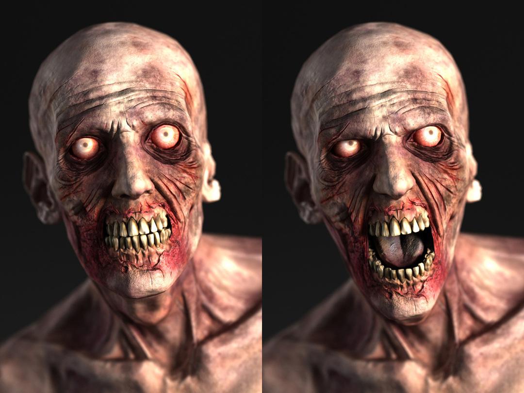 3d zombie head open mouth