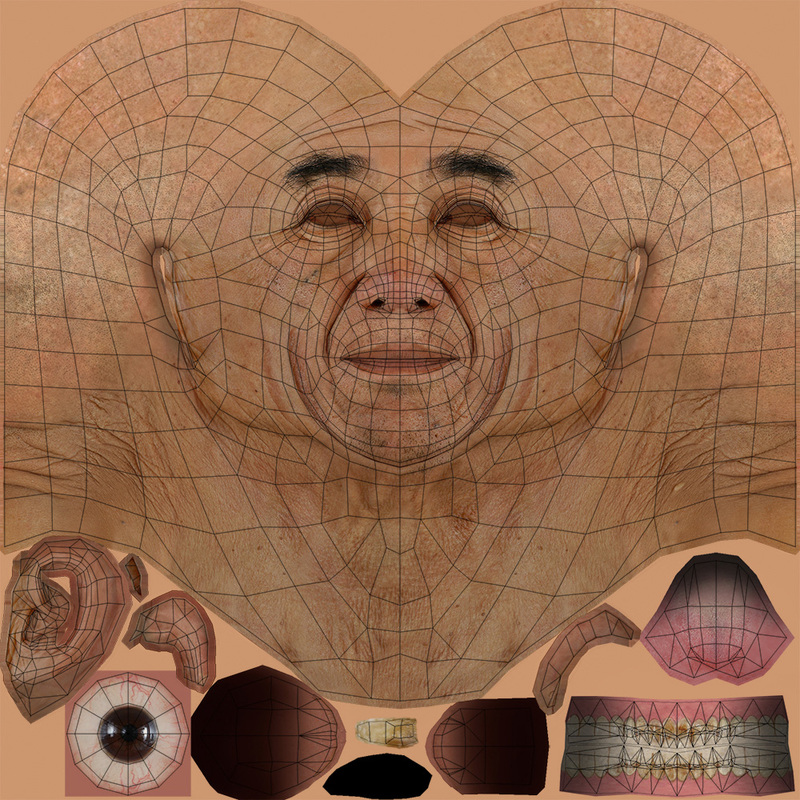 Low polygon chinese old man head texture and uv