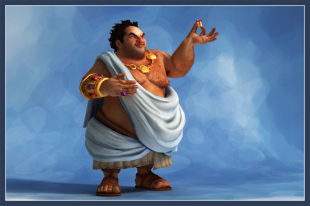Fat rich roman man hold gold ring in his hand, big arrogant smile