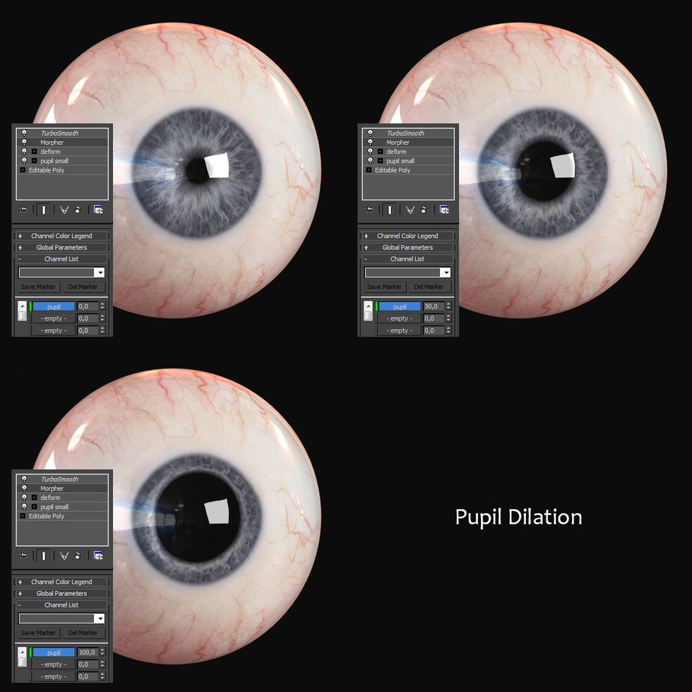 Change Pupil Dilation with Morpher Modifier