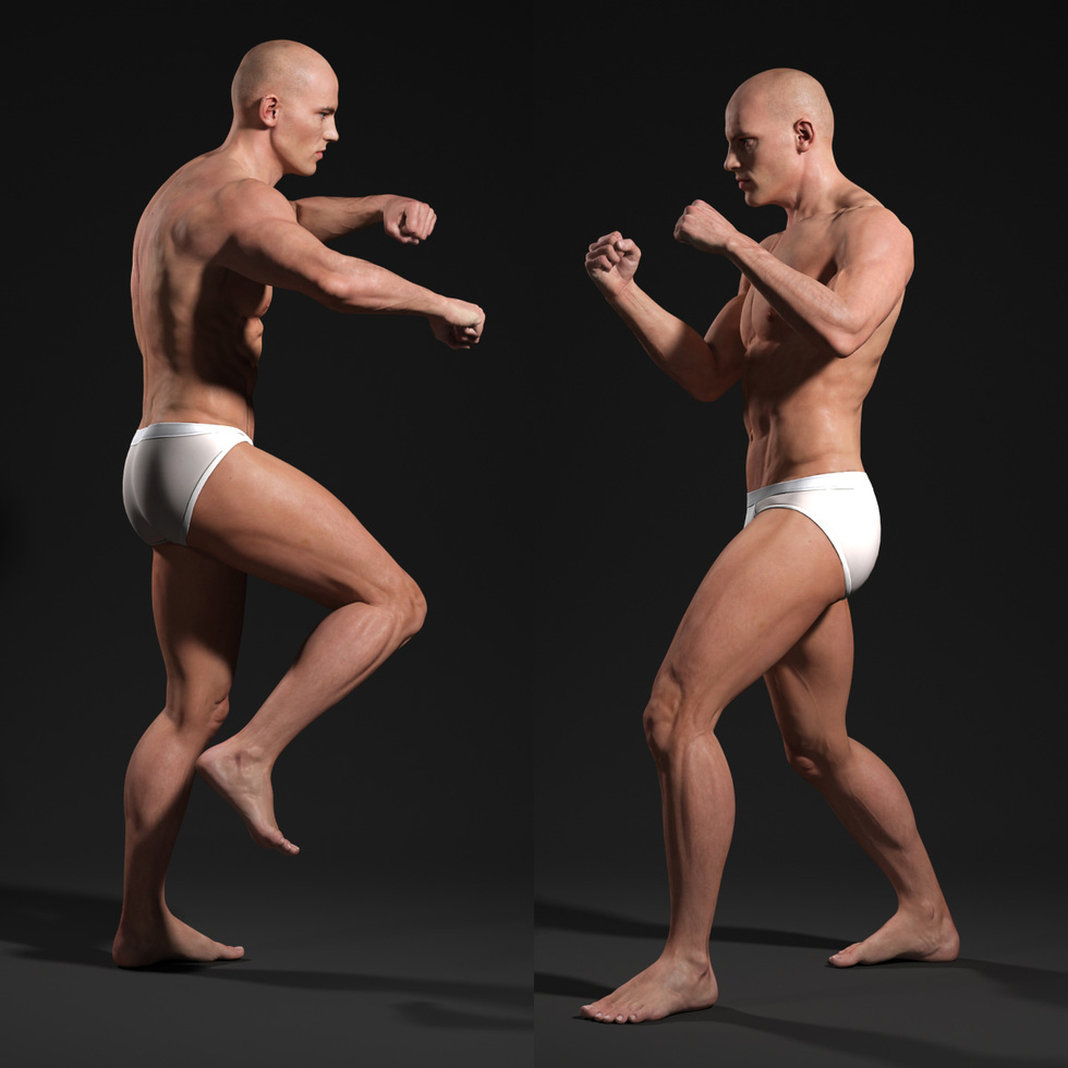 3d male body fight punch beat