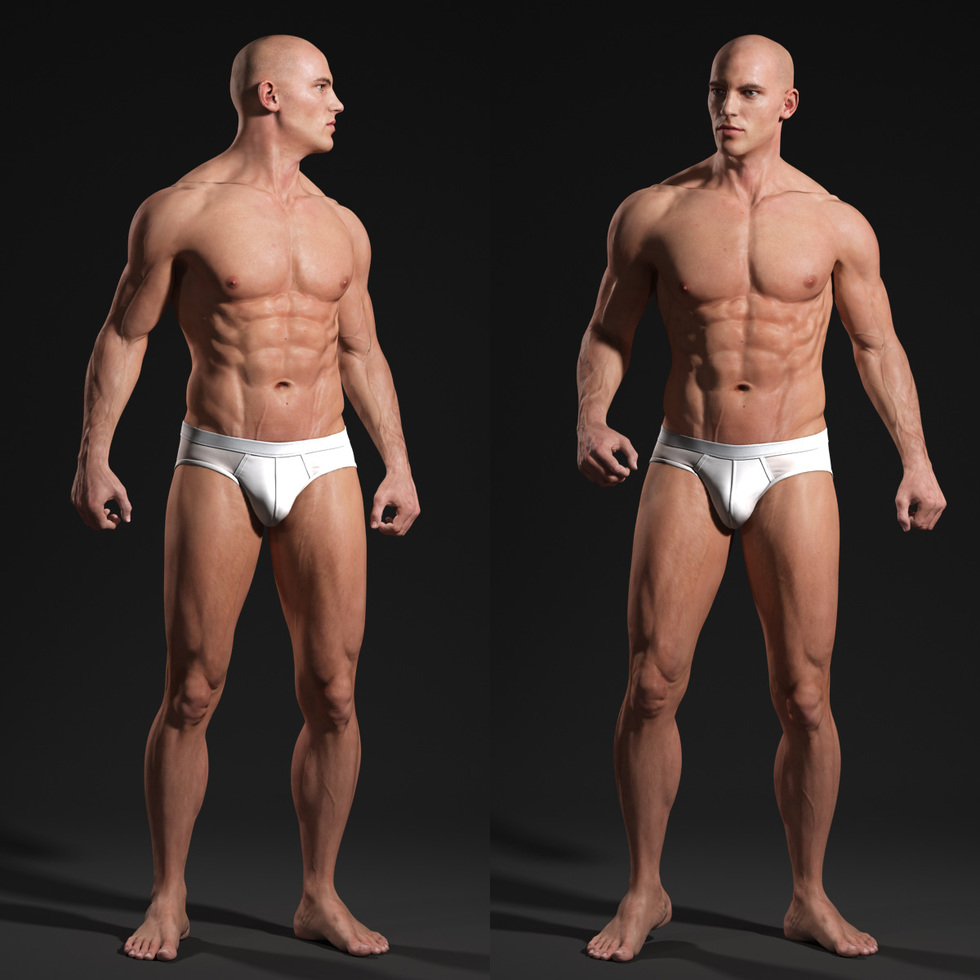 3d male body look around