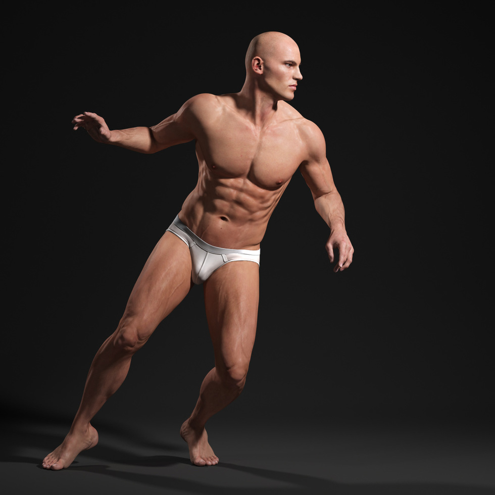 3d male body sport run start