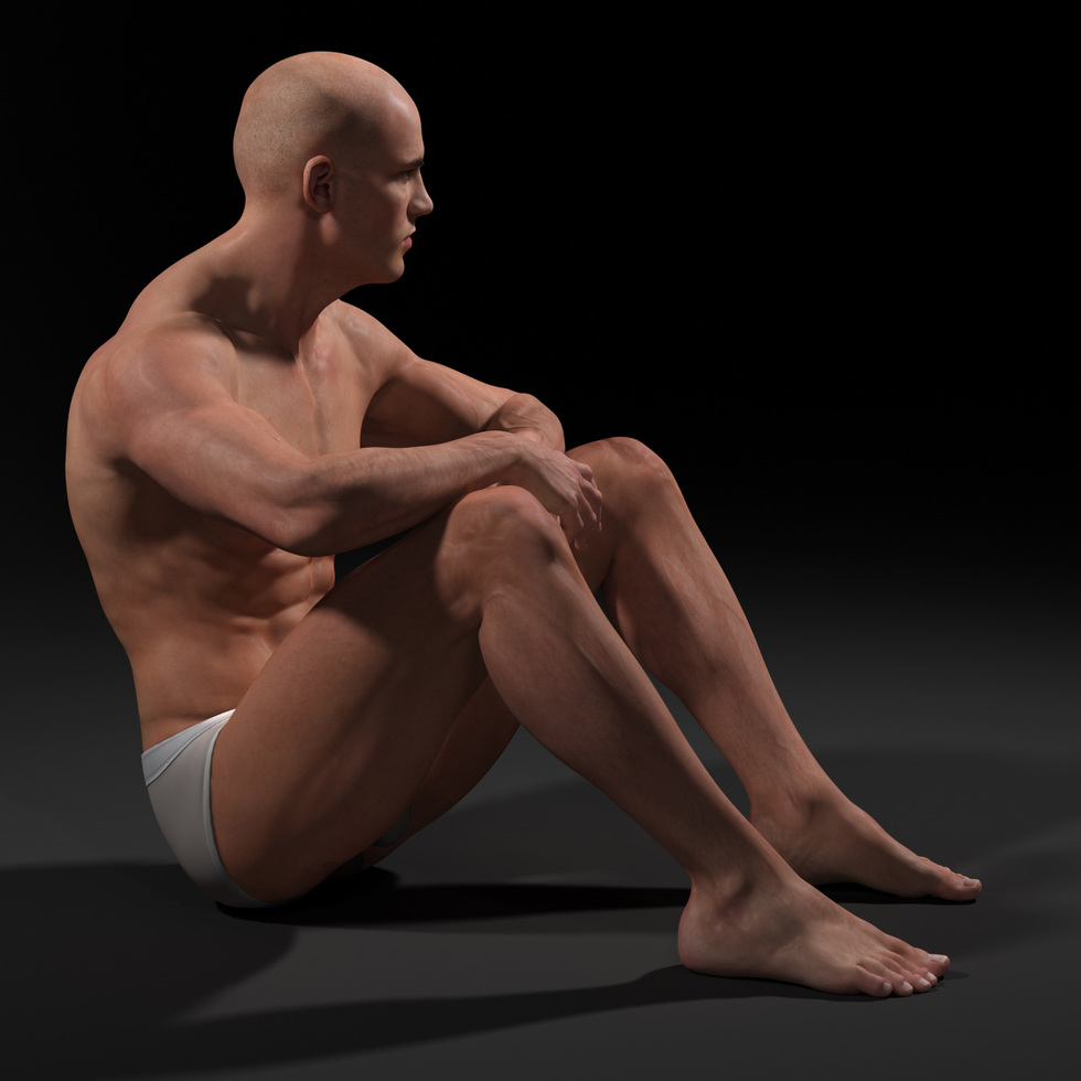 male body sitting
