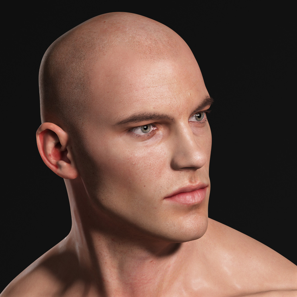 3d male head half profile
