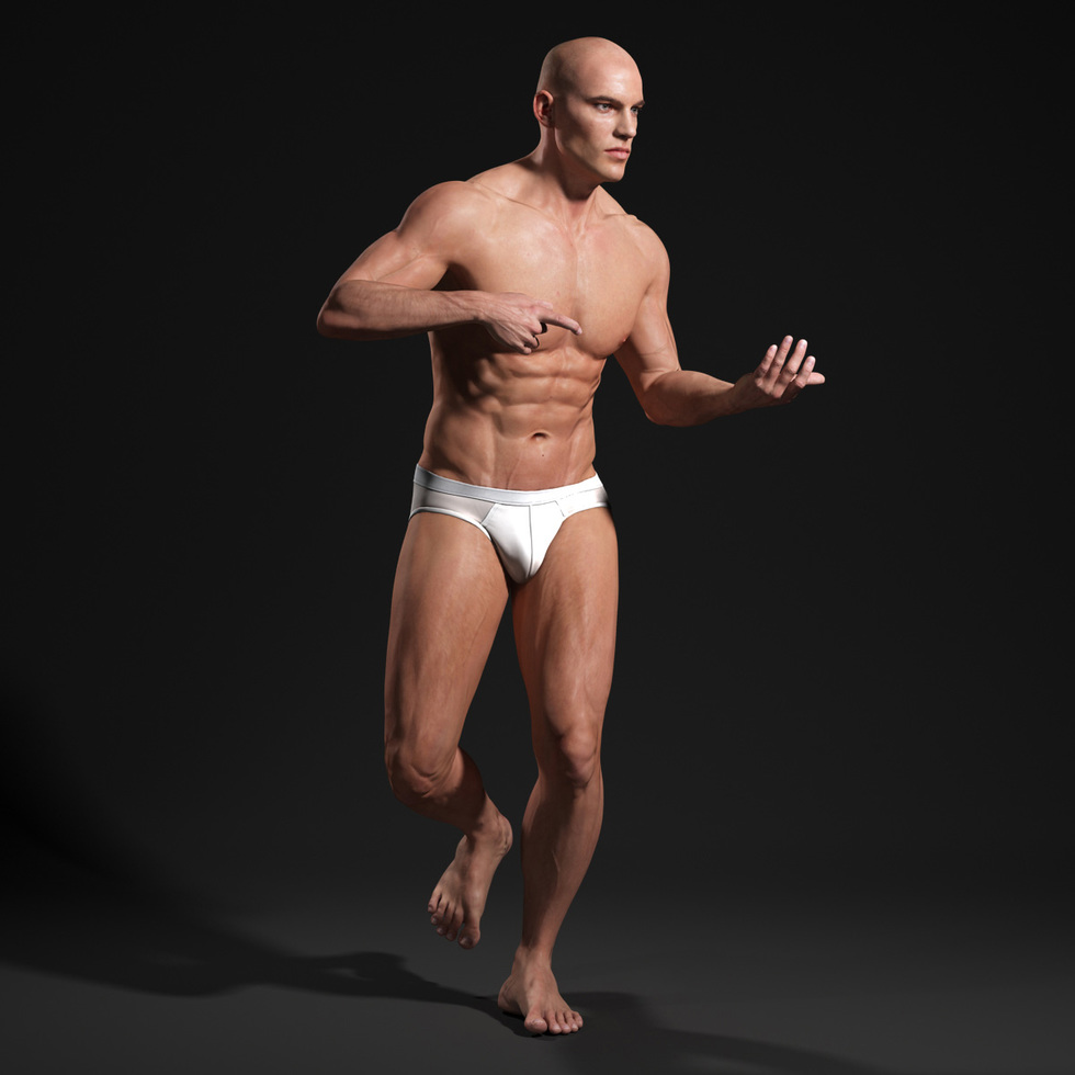 3d male body hold a gun