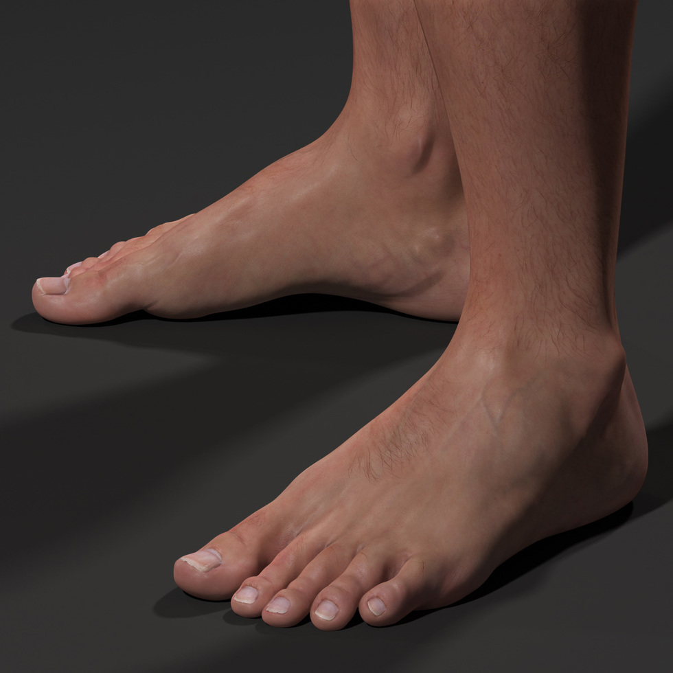 3d male foot sss render