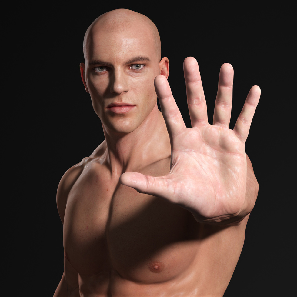male body 3d front of hand