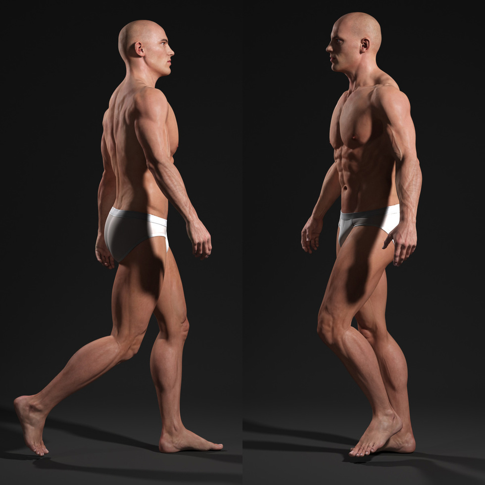 3d male body walking