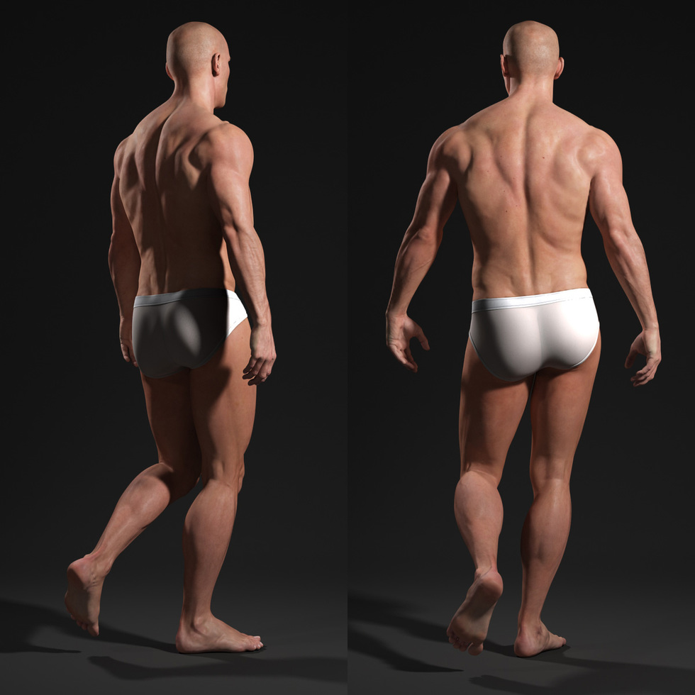 3d male body walking back