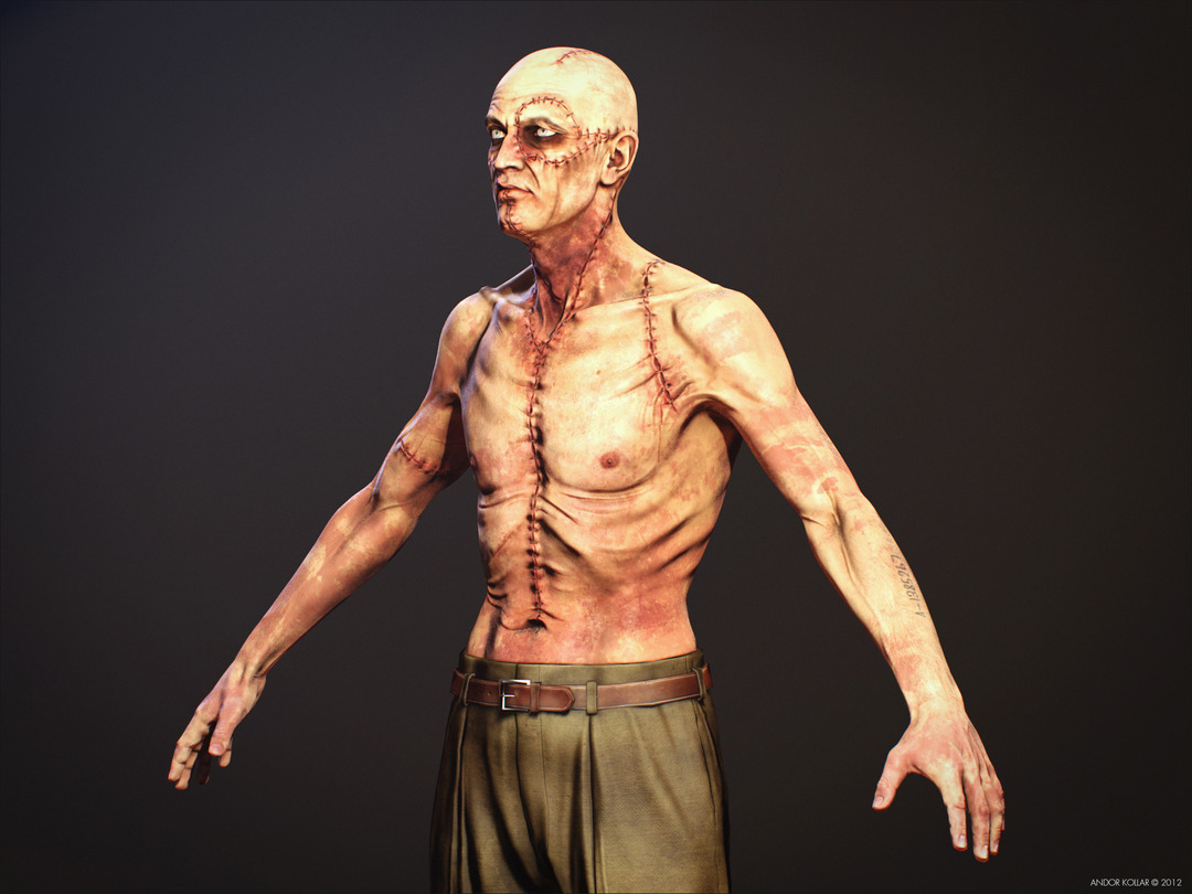 Slim Monster Frankenstein Creature Scar