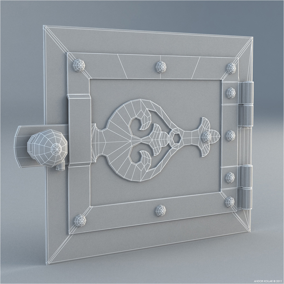 Hungarian Furnace Door 3d wireframe