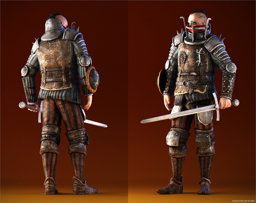 Witcher Character Salamandra Warrior, Armored Bandit with Sword