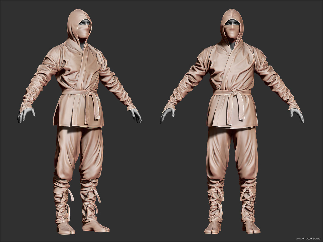 3d ninja character in ZBrush