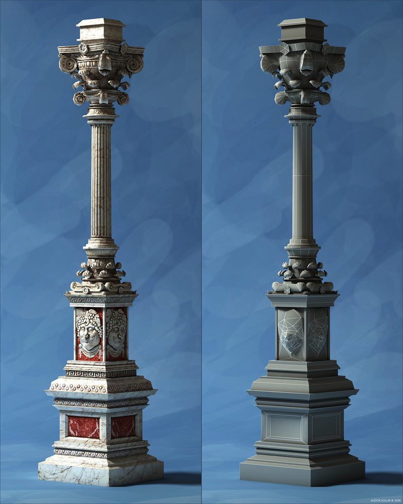 Wireframe of an decorative pillar from Overlord 2