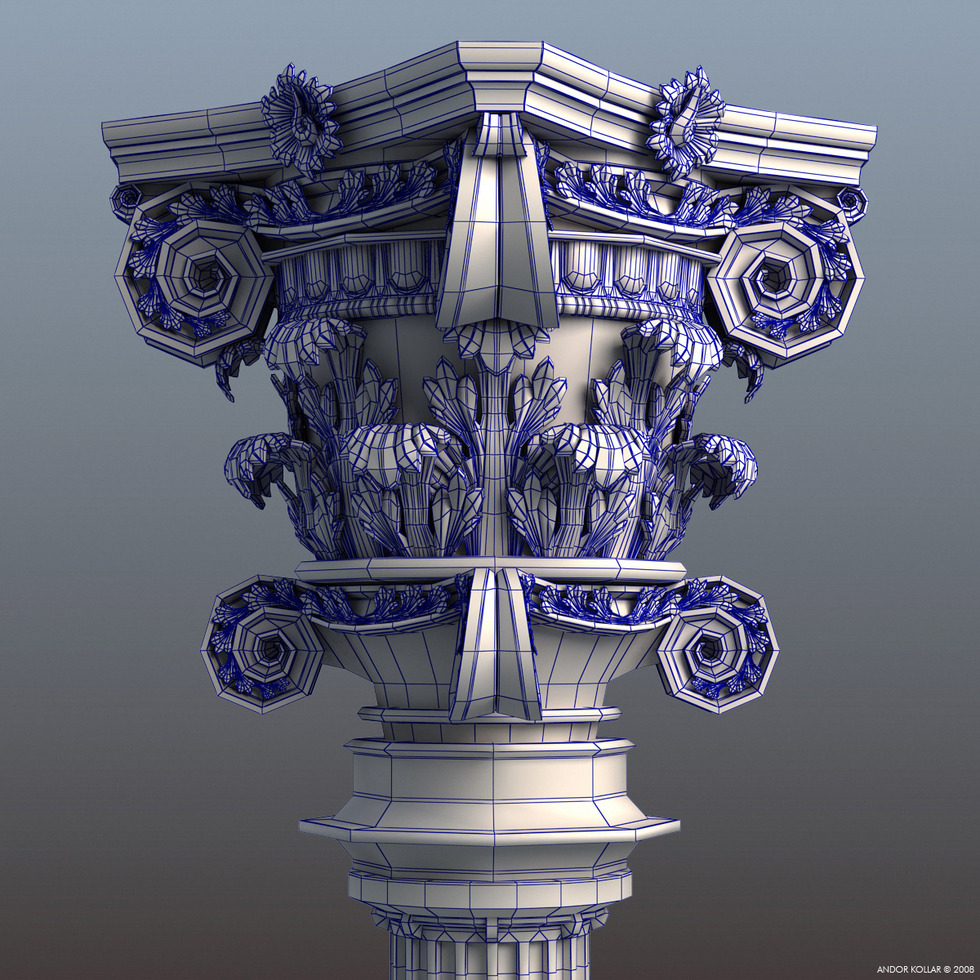 Decorative Column Capital wireframe