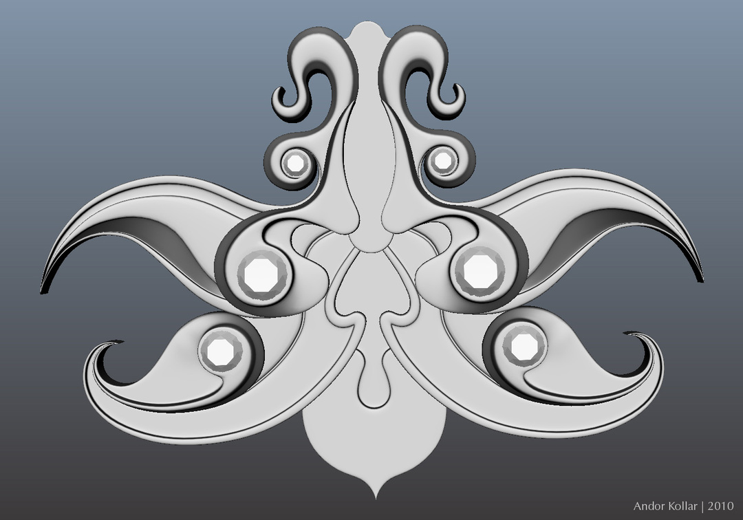 Orchid necklace design in Maya
