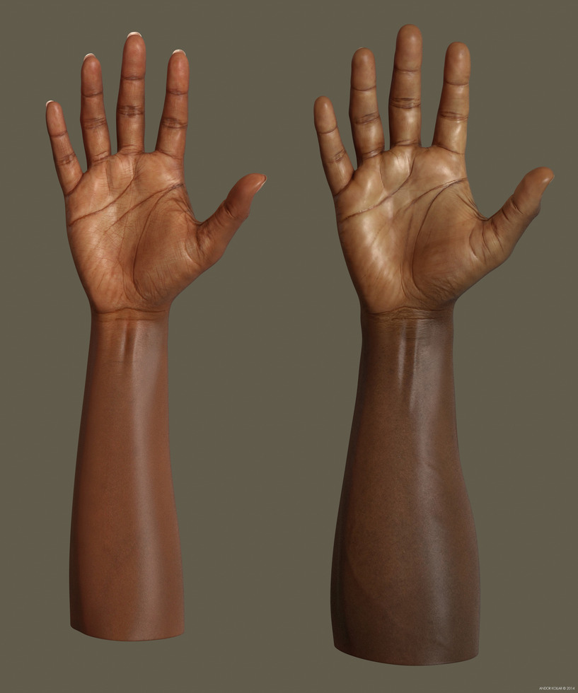 Female and male arms with dark skin
