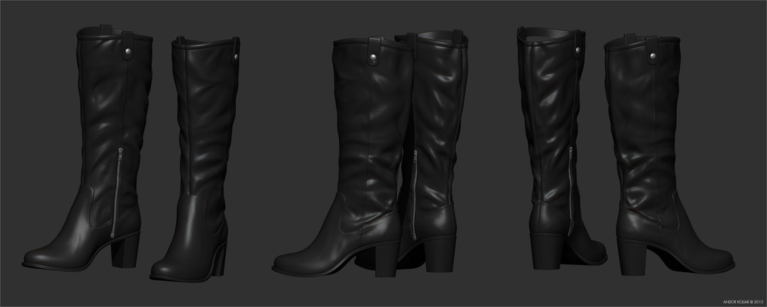 Woman boots in ZBrush