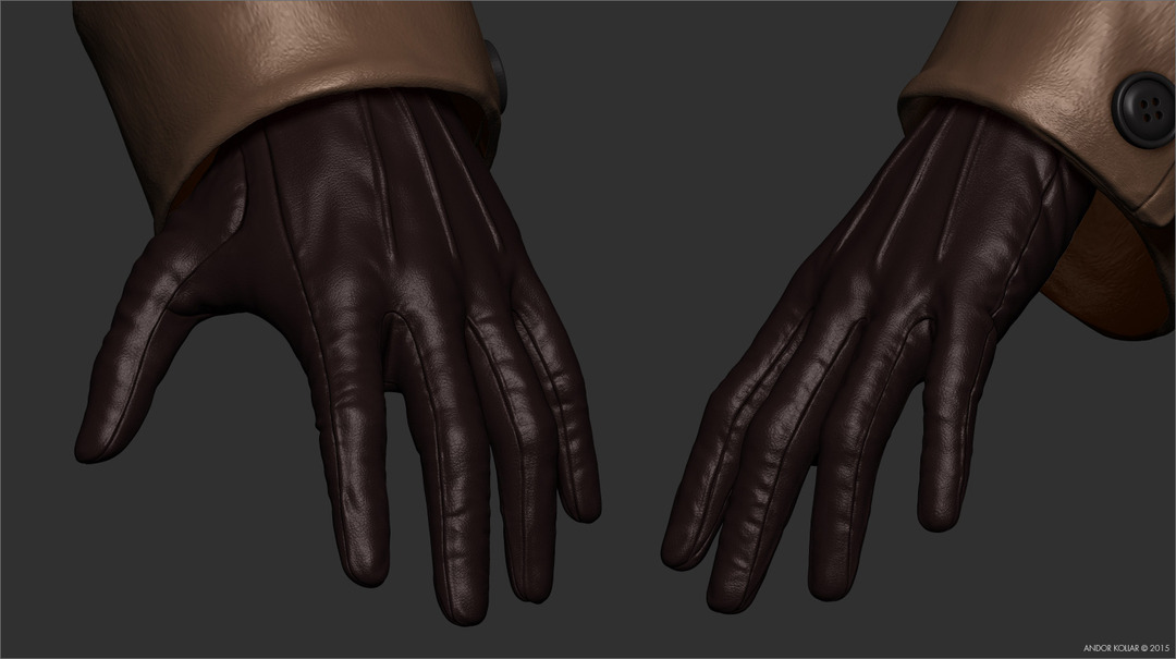 Woman gloves in ZBrush