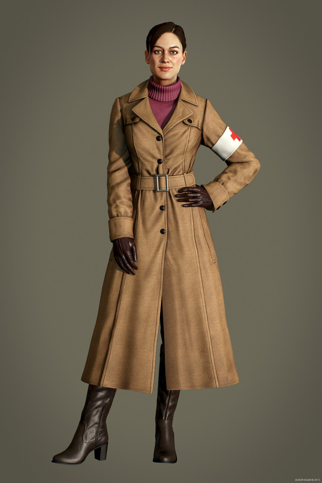 Nice girl character with ponytail and trench coat with sweater in Marmoset Toolbag