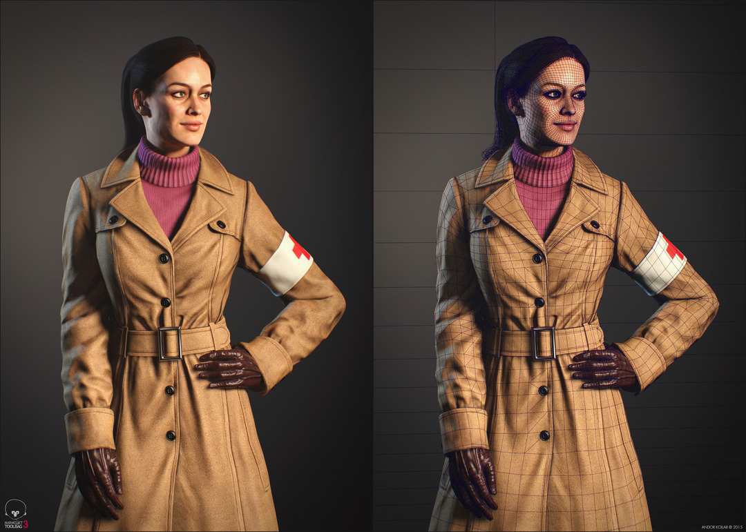 Nice girl character wireframe with ponytail and trench coat with sweater in Marmoset Toolbag