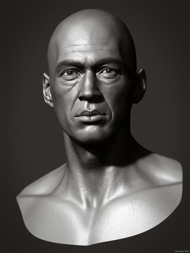 Andor Kollar 3d David Carradine ZBrush render