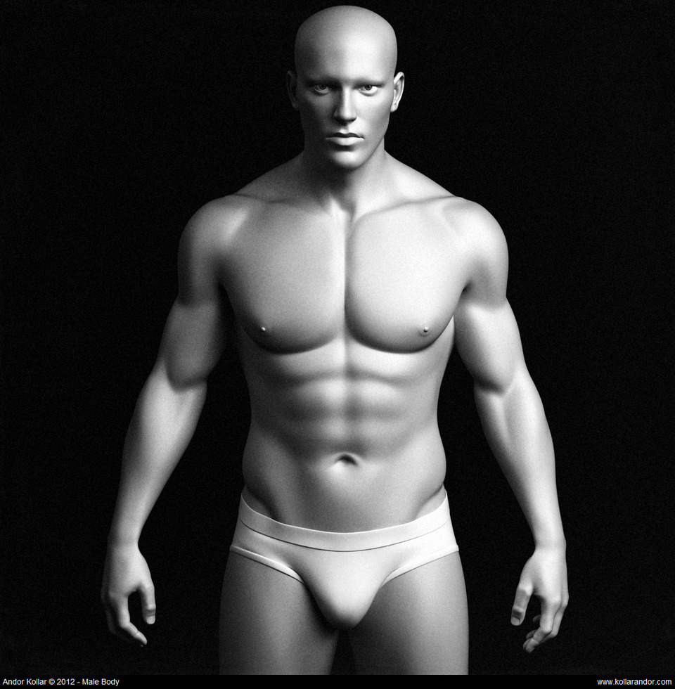 3d male body base mesh black and white