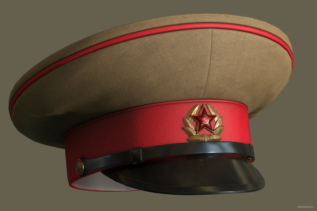 Andor Kollar Soviet Officer Hat with Soviet Badges
