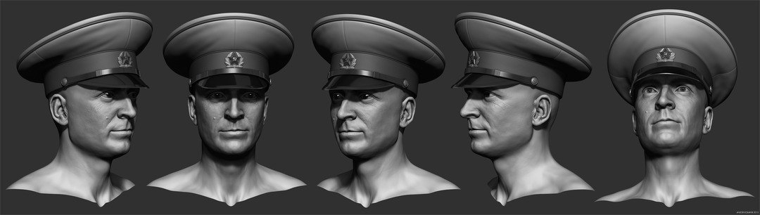 Andor Kollar Soviet Officer Head with Hat in ZBrush