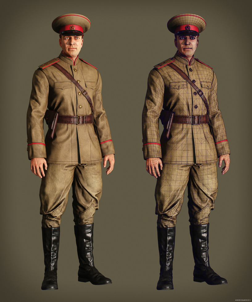Game Character Soviet Officer Soldier wireframe