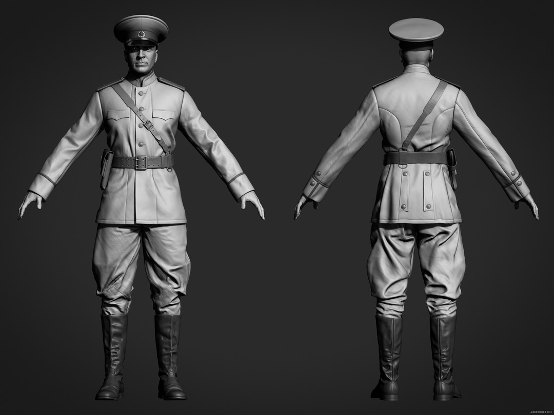 Andor Kollar Soviet Officer Uniform full body in ZBrush