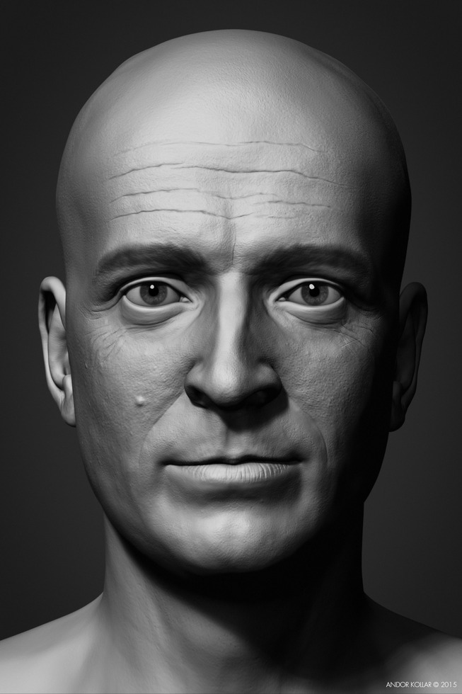 Andor Kollar Soviet Officer Head in ZBrush