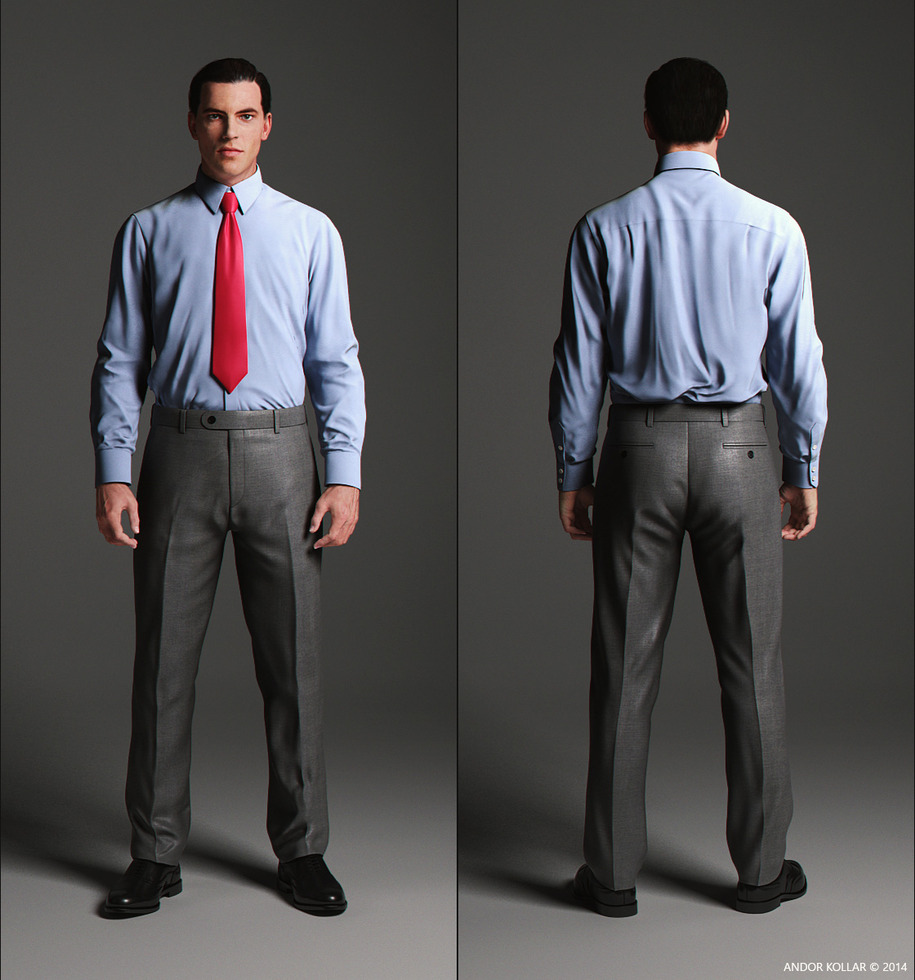 Elegant blue shirt front and back side with red tie