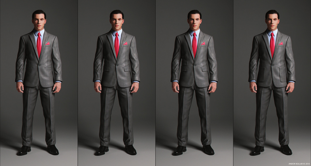 1 Button Suit Jacket with peaked lapel and pocket variations