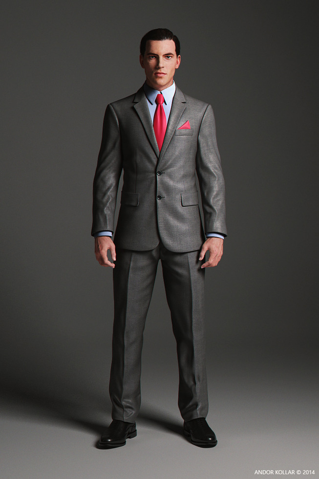 2 Button Suit with character, 3d render