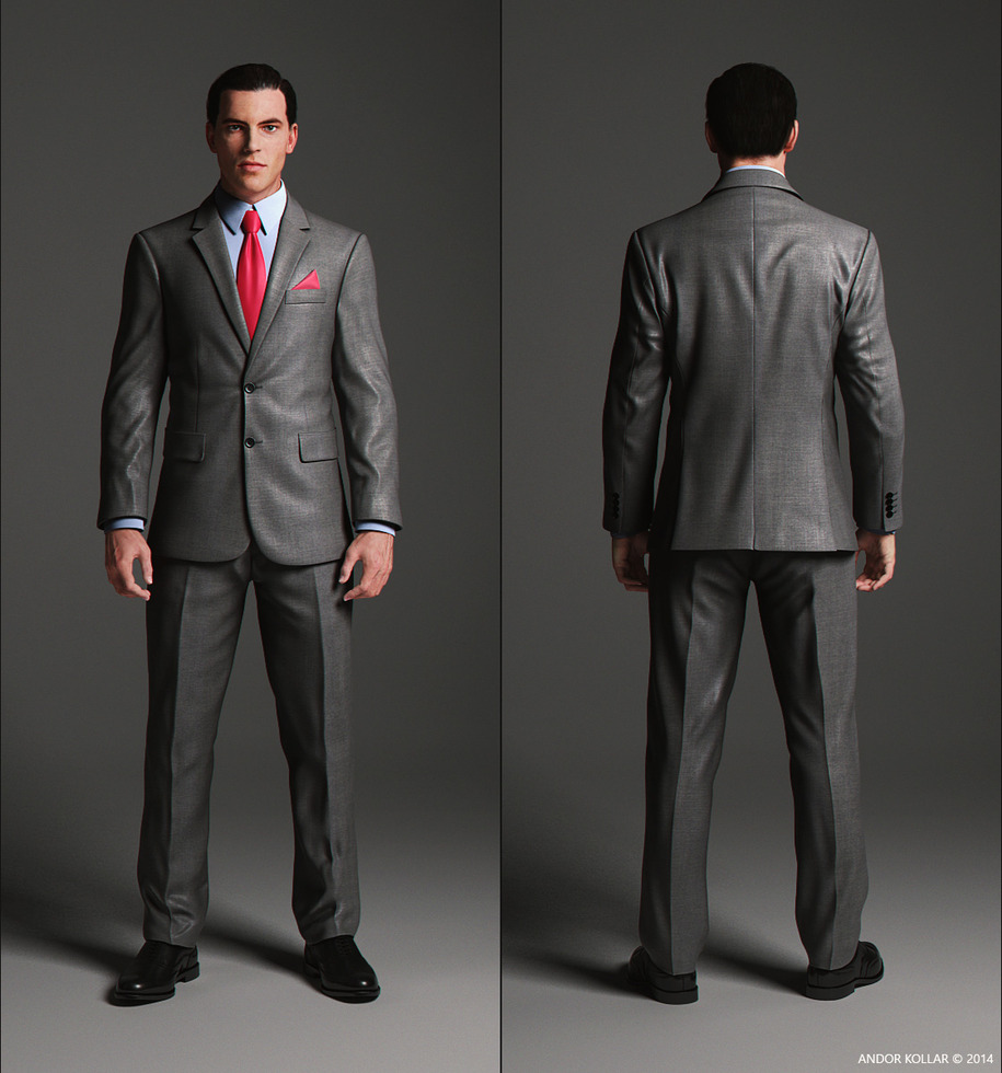 Elegant suit front and back side with blue shirt and red tie