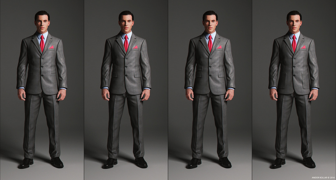 3 Button Suit Jacket with notched lapel and pocket variations