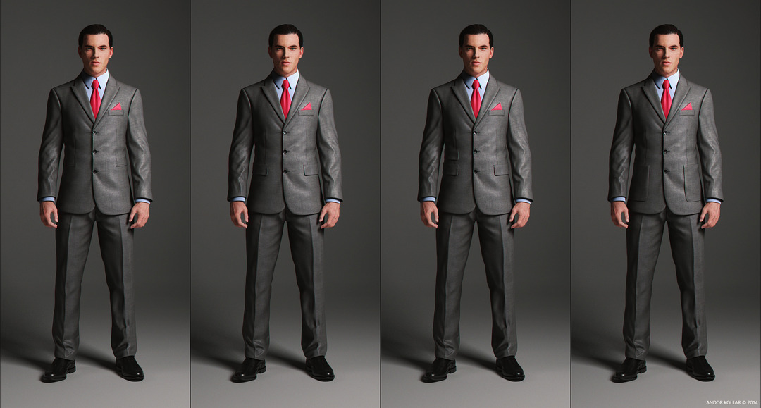 3 Button Suit Jacket with peaked lapel and pocket variations