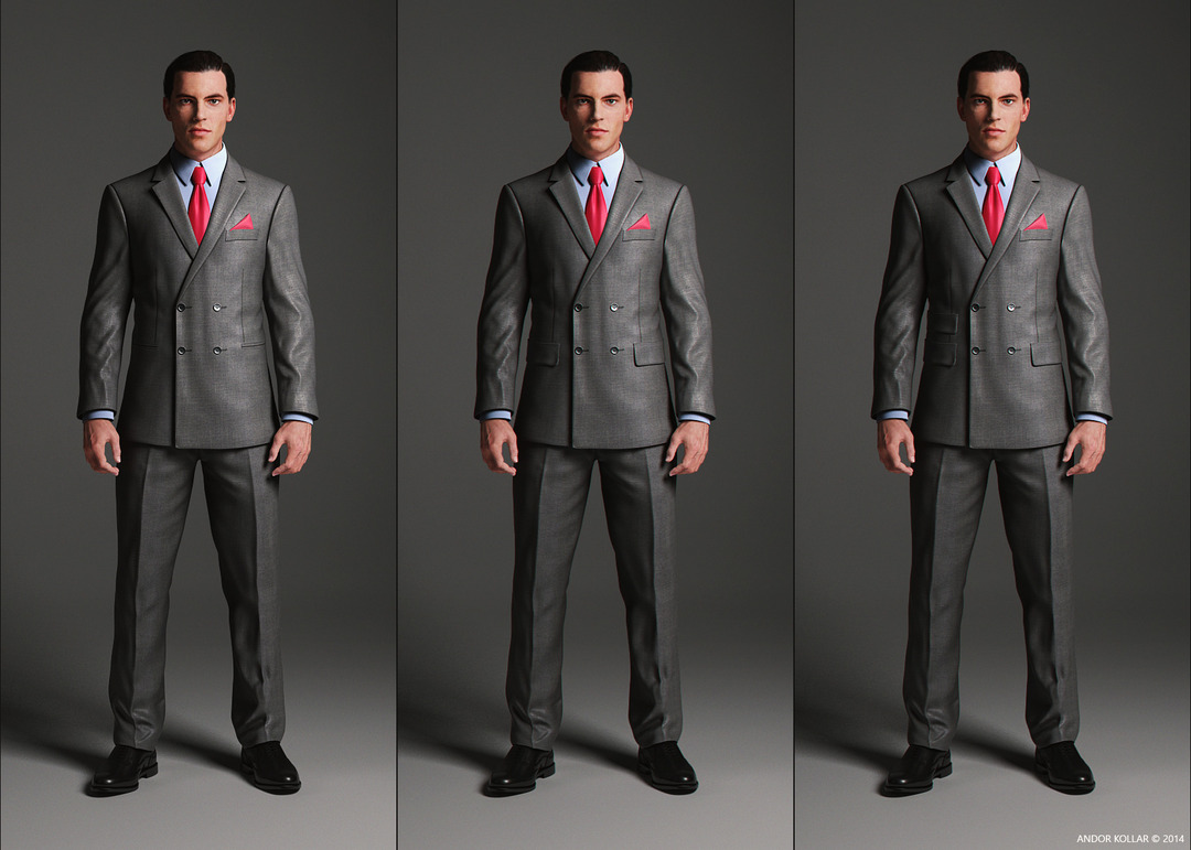 Double Breasted Suit Jacket with notched lapel and pocket variations