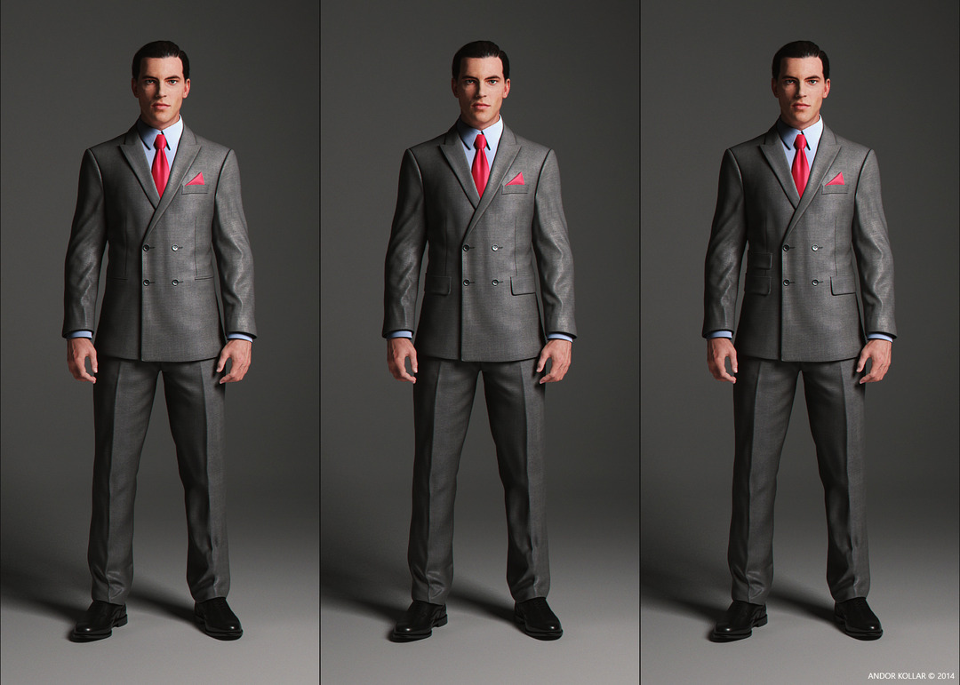 Double Breasted Suit Jacket with peaked lapel and pocket variations