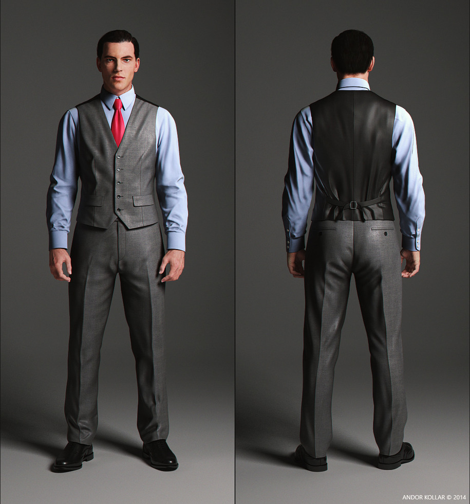 Elegant waistcoat front and back side with blue shirt and red tie